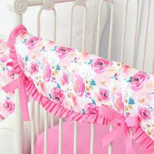 Pink Floral Crib Bedding Mackenzie Bright Pink Floral Crib Bedding Set By Caden