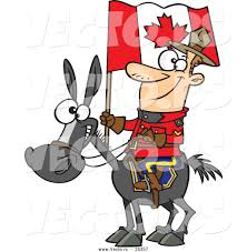 vector of a smiling mountie on a horse with a canadian flag by