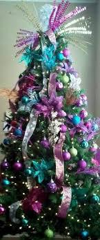 purple and teal tree decorations on fleek