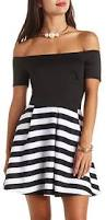 charlotte russe striped off the shoulder skater dress where to