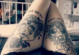 tribal skulls thigh tattoos thigh tattoos for women