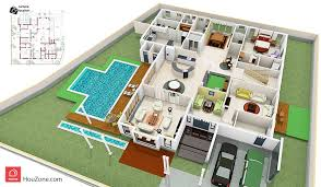 house plans with swimming pools home plan 3 d with swoomminpool splendid duplex house plans
