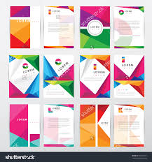 Business Letterhead Stationery Simple Design Templates Big Set Collection Of Trendy Geometric Triangular Design Style