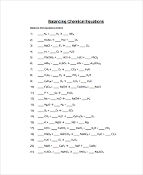 equations balancing chemical
