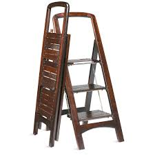 Fold Up Step Ladder by Fold Flat Mahogany Finished Wooden Stepladder The Green Head