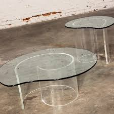 vintage hollywood regency lucite u201csnail u201d coffee u0026 side tables in