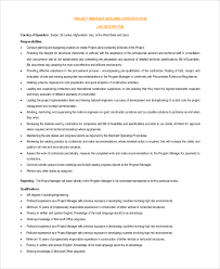 Resume Examples For Project Managers by Construction Project Manager Job Description Entry Level