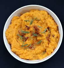 mashed sweet potatoes with caramelized onions brie and