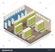 swimming pool house changing locker room stock vector 741326344