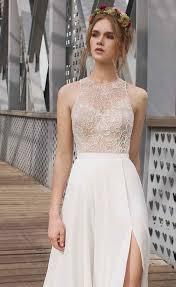 high neck halter wedding dress 33 wedding dresses with a slit weddingomania