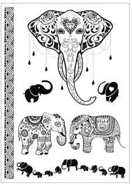 rosie ganesha elephant white or black tribal temporary tattoo