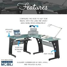 Glass Top L Shaped Computer Desk L Shaped Colored Tempered Glass Top Corner Desk With Pull Out