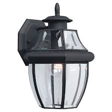 Lowes Outdoor Light Shop Sea Gull Lighting 12 In H Black Outdoor Wall Light At Lowes