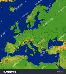 Europe Map by Europe Map Terrain Stock Illustration 15294379 Shutterstock