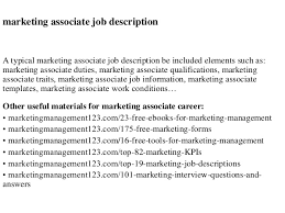 marketing associate job description