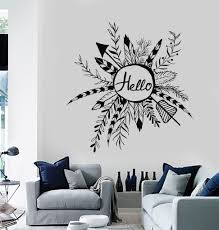 vinyl wall decal rustic style wreath hello ethnic arrows feathers