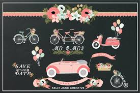 vintage cars clipart pink wedding clipart wedding car just married car