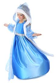 frozen princess elsa winter snow queen blue dress u0026 hood costume