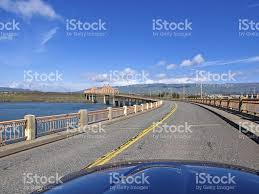 Map Oregon Washington State Stock by Bridge Road The Dalles Oregon To Washington From A Car Stock Photo
