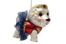 december diamonds glass ornament bichon frise superhero woman