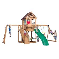 gorilla playsets navigator treehouse with fort add on and amber