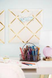 Pink Glass Desk Gold Ribbon Pin Boards Over Desk Contemporary U0027s Room