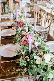 fresh flower table runner boone hall plantation wedding by one life photography a lowcountry