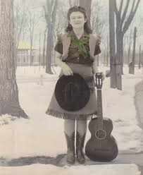 c 1930 u0027s cowgirl w guitar in snow 8x10 lightly color tinted glossy