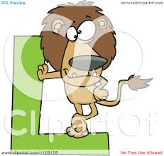 cartoon of a lion leaning on a letter l royalty free vector