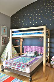 interior classy colorful bunk bed interior design with grey wall