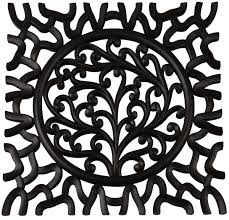 black wall hanging in mdf u2013 square shaped u2013 cut out patterning