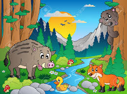 forest scene with various animals royalty free cliparts vectors