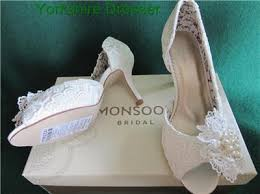 wedding shoes monsoon new monsoon ivory peep toe vivien vintage lace corsage bridal