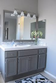 Grey Bathroom Tile by How To Paint Oak Cabinets Painted Oak Cabinets Painted Bathroom