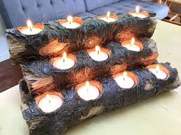 amazon com tespressolife tealight fireplace log candle holder