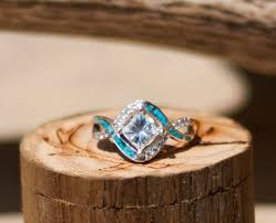 turquoise wedding rings 1ct moissanite engagement ring w turquoise inlay staghead designs