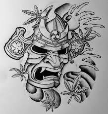 samurai mask tattoos samurai mask and japanese maple by