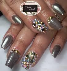 imagenes de uñas acrilicas con pedreria uñas acrílicas efecto espejo pedrería laura nails pinterest