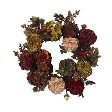 nearly 22 in artificial wreath with autumn hydrangeas and