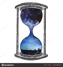 galaxy clock hourglass on white background future concept sand clock with