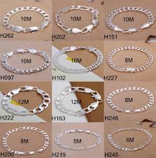silver bracelet styles images High quality 12 styles mixed 925 sterling silver men 39 s figaro curb jpg