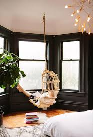 furniture home hanging chair in bedroom reading nook boho