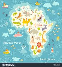 Africa Map by Animals World Map Africa Beautiful Colorful Illustration For