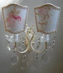 Crystal Wall Sconces by Antique Italian Painted Bronze Crystal Wall Sconces With French