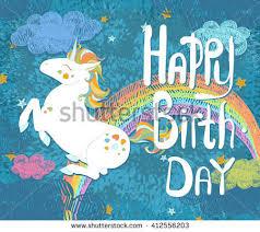 happy birthday card cute baby unicorn stock vector 412556203