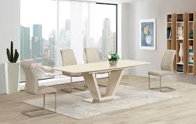 Cream Extending Glass High Gloss Dining Table And  Taupe Chairs - Cream kitchen table