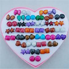 plastic stud earrings online shop random mix styles 36pairs lot heart drop resin