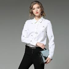 2017 2017 new spring long sleeved white shirt blouse women lapel