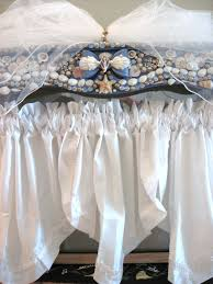 shabby chic valances shabby chic window valance or bed canopy with seashells and pearls