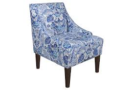 and swoop arms accent chair with unique pattern